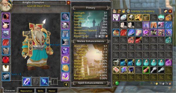 R14 EPIC-DECKED Human Male Paladin + Epic Geared Dwarf Priest